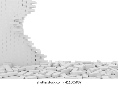 3D rendering Destruction of a white brick wall on white background