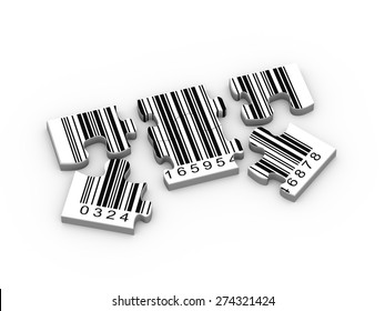 3d rendering of detach puzzle pieces of bar code