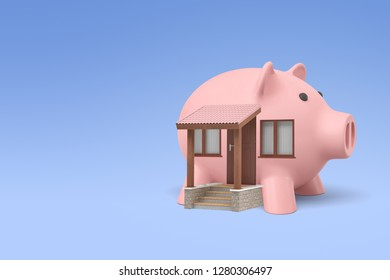 3d rendering of a detached house with front porch in the shape of a piggy bank. Planning family budget. Thriving economy. Property investment.