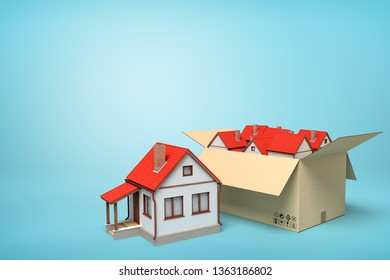 3d rendering of detached houses in carton box on blue background. Estate business. Solution to housing problem. Public welfare homes.