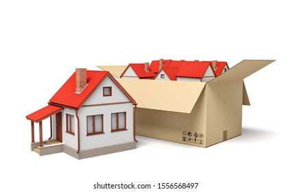 3d rendering of detached houses in carton box. Estate business. Solution to housing problem. Public welfare homes.