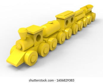 3D rendering - detailed yellow wooden toy train