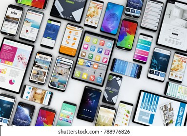 3d rendering of devices collection aerial view showing websites, apps and operating systems