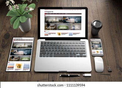3d rendering of devices on wooden floor showing e-magazine  responsive website