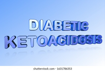 3D rendering diabetic ketoacidosis word - DKA complication of diabetes letter design isolated on blue background