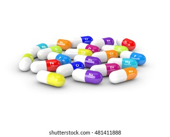 3d rendering of dietary supplements isolated over white background