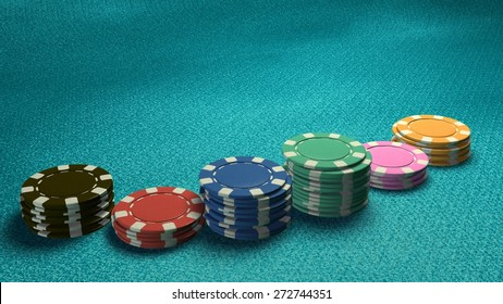 The 3d rendering of difference coloured casino chips