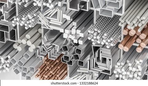 3d rendering of different kind of metallic profiles