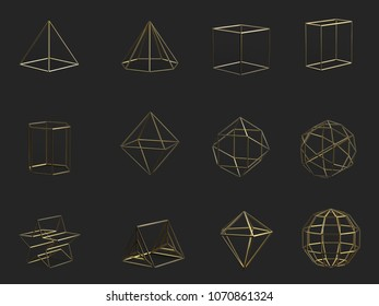 3D Rendering Of Different Type Of Geometric Realistic Looking Mesh Objects Isolated On Dark Grey Background