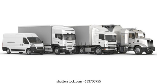 3D rendering of Different Types of Commercial Land Vehicles in a Row