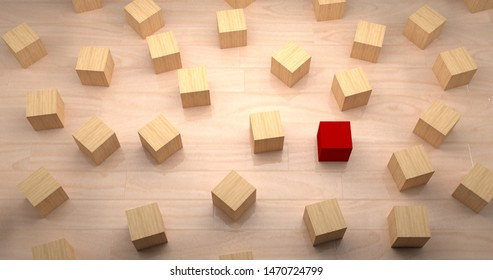 3D Rendering. Different, unique and standing out concept with blocks
