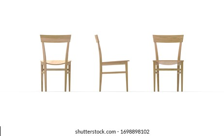 3D rendering of a dinning table chair furniture isolated on white background