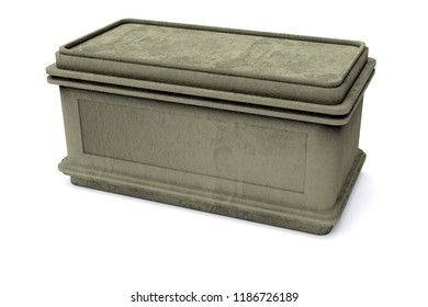 3D rendering of dirt covered old stone chest,isolated