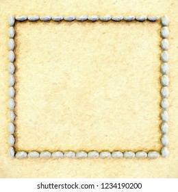 3d rendering of dirt floor with stone frame - impasto style