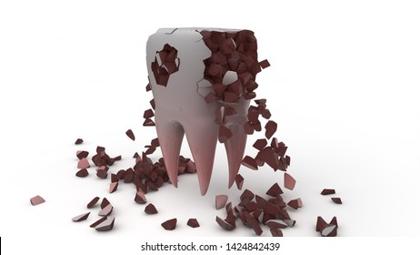 3D rendering of a diseased, destroyed, human tooth. Illustration to promote a healthy lifestyle and care of the oral cavity. 3D illustration isolated on white background