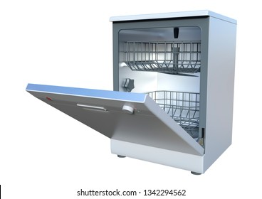 3D rendering of a dishwasher isolated on white background