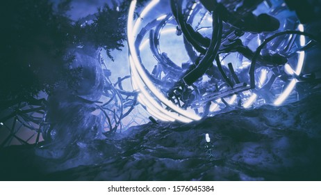 3D rendering of distant planet environment with strange glowing structure