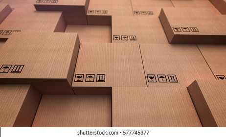 3D rendering of a distribution warehouse. Stacks of cardboard boxes.