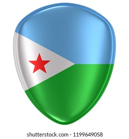 3d rendering of a Djibouti flag icon on white background.