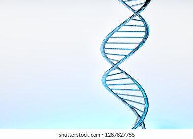 3D rendering of DNA double helix, blue glossy material, white gradient background