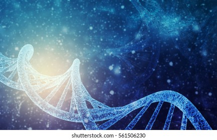 3D rendering of DNA structure in color background