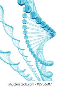 3D rendering of DNA with stylish blue glass.