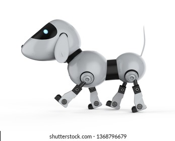 3d rendering dog robot on white background