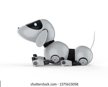 3d rendering dog robot on white background
