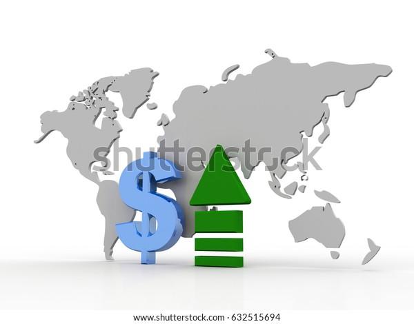 3d rendering Dollar symbol with up arrow