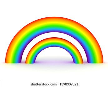 3D Rendering of double rainbow. 3D Rendering isolated on white.