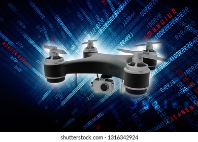 3d rendering Drone or helicam with camera