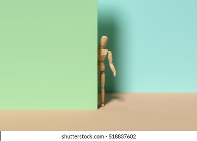 3d rendering of a dummy looking around the corner.