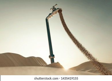 3d rendering of dune landscape with sand flowing spigot. Concept of water shortage