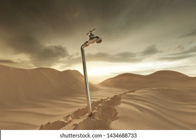 3d rendering of dune landscape with spigot. Concept of water shortage