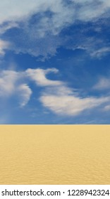3d rendering of dune landscape under cloudy blue sky