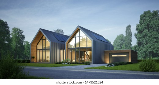 3d rendering of a duplex house in the evening