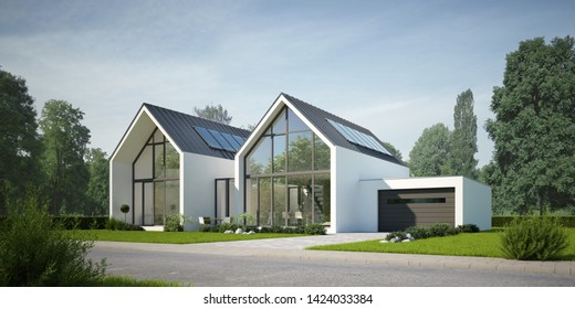 3D rendering of a duplex house on the day
