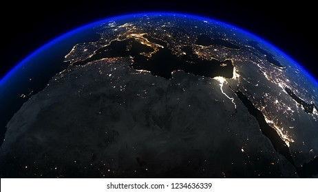 3D Rendering Earth Night Africa