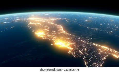 3D Rendering Earth Night Close Up High Detail Italy
