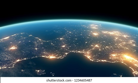 3D Rendering Earth Night Close Up High Detail Europe Overture