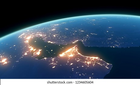 3D Rendering Earth Night Close Up High Detail Gulf of Persia