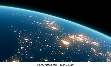 3D Rendering Earth Night Close Up High Detail Northeast Europe and UK