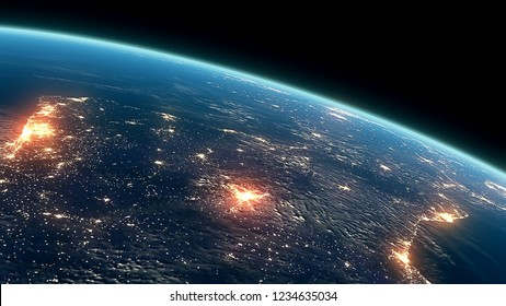 3D Rendering Earth Night Close Up High Detail Iberian Peninsula and Strait of Gibraltar