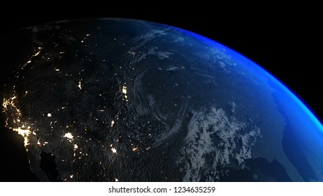 3D Rendering Earth Night to Day North America