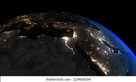 3D Rendering Earth Night to Day Middle East