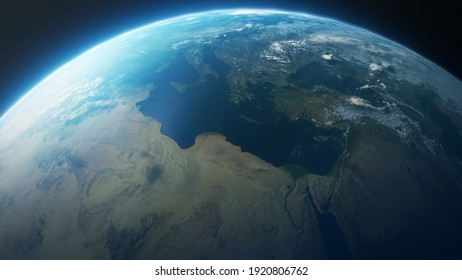 3D rendering Earth in the outer space collage. Abstract wallpaper.