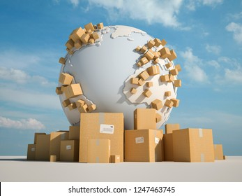 3D rendering of the earth surrounded by cardbox boxes