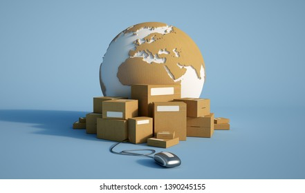 3D rendering of the Earth surrounded by packages,  connected to a computer mouse