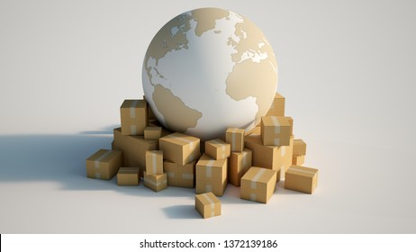 3D rendering of the Earth in white and cardboard texture, surrounded by cardboard boxes