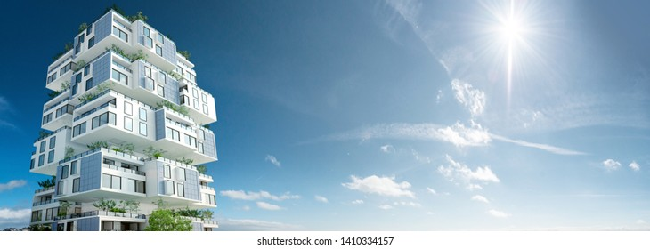 3D rendering of a eco friendly building against the blue sky